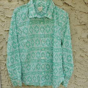 J.crew Long Sleeve Green/White Bottons Size/ M